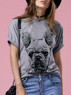 Short Sleeve Cartoon Printed Round Neck T-Shirt - Gray Xl
