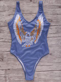 Eagle Print Plunging Neck One-Piece Swimwear - Blue M