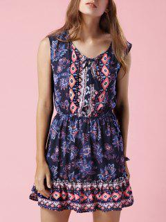 Printed V-Neck Sleeveless Waisted Dress - Purplish Blue M