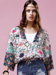 Floral Print Turn-Down Collar Bat-Wing Sleeve Blouse - S