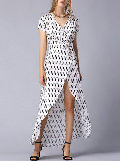 Print Tie-Side V Neck Short Sleeve Maxi Dress - M
