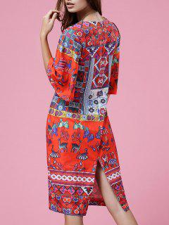 Retro Print Round Neck Half Sleeve Dress - Orangepink S