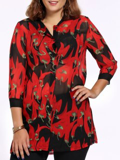 Chic Plus Size Pepper Print Side Slit Women's Shirt - Red 2xl