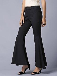 Pantalon évasé Noir à Taille Haute - Noir M