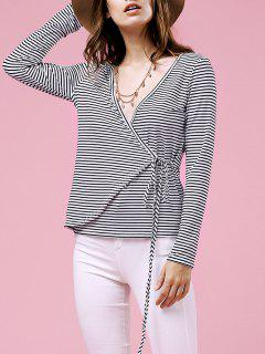 Drawstring Striped Plunging Neck Long Sleeve T-Shirt - White M