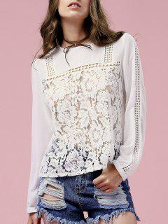 White Lace Spliced ​​Jewel Neck Blouse à Manches Longues - Blanc 2xl
