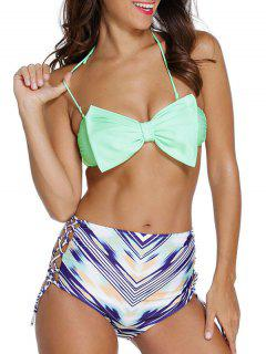 Bowknot Embellished Halter High Waisted Bikini Set - Light Green M