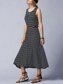 Striped Casual Round Neck Sleeveless Maxi Dress - Black S