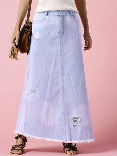 Denim Ripped Rough Selvedge Midi Skirt - Light Blue M