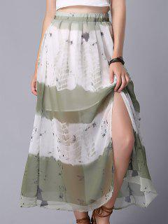 Tie Dye High Waist Chiffon Skirt - M