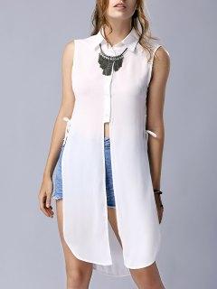 Haut Slit Turn Down Collar Chemise Sans Manches - Blanc S