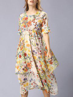 Or Fil Robe En Mousseline De Soie Floral - S