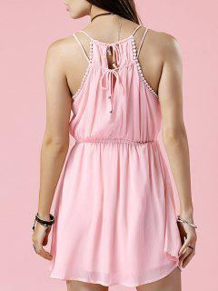Robe En Mousseline De Soie Pure Color Cami - Rose PÂle S
