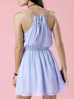 Pure Color Cami Chiffon Dress - Light Blue S