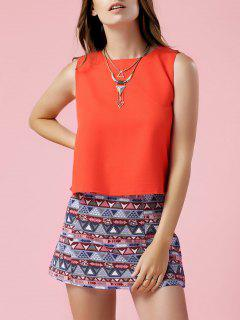 Orange Tank Top And Geometric Print Skirt Suit - S