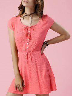Drawstring Round Neck Short Sleeve Solid Color Dress - Jacinth S