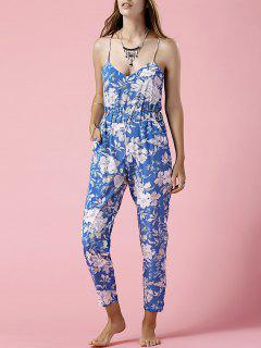 Azul De La Impresión Floral Cami Mono - Azul S
