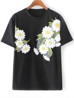 Sun Flower Bordado Cuello Redondo Manga Corta De La Camiseta - Negro L