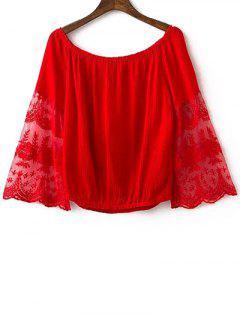 Empalmado De La Cucharada Del Cordón Del Cuello Recortada De La Camiseta - Rojo S