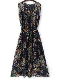 Belted Printed Round Neck Sleeveless Dress And Solid Color Cami Tank Top - Purplish Blue M