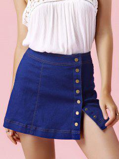 Single-Breasted Denim Mini Skirt - Light Blue S