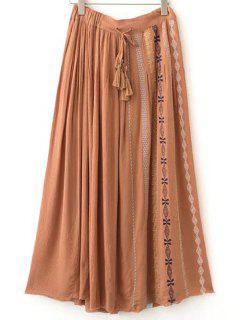 Drawstring Embroidery Long Skirt - Sweet Orange S