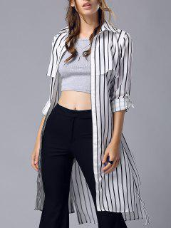 Striped Turn Down Collar Chiffon Maxi Shirt - Stripe S