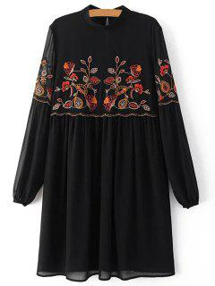 Floral Embroidery Stand Neck Puff Sleeve Dress - Black S