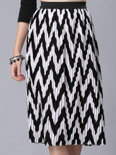 High Waist Zig Zag Pattern Skirt - White And Black S
