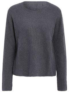 Solid Color Long Sleeve Knitwear - Gray L