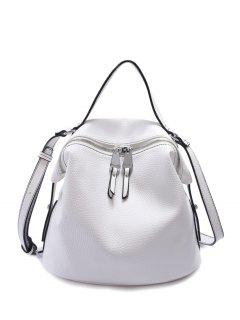 PU Leather Solid Color Zip Crossbody Bag - White