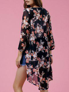 Floral 3/4 Sleeve High Low Kimono Blouse - S