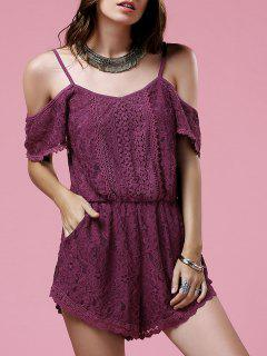 Cold Shoulder Guipure Lace Romper - Purplish Red Xs