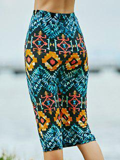 Geometric Print High Waist Pencil Skirt