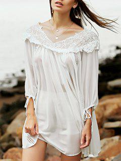 Lace Splice V Neck 3/4 Sleeve Chiffon Dress - White