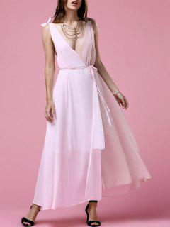 Hit Color Plunging Neck Sleeveless  Chiffon Dress - Pink Xl