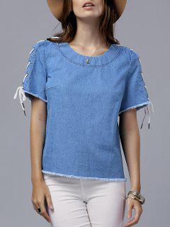 Vintage Con Cordones De Cuello Redondo Manga Corta De La Camiseta - Azul S