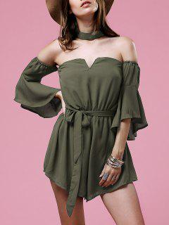 Cut Out Solid Color Belted Romper - Army Green S