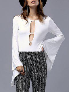 Cut-Out De Bell Sleeve Bodysuit - Blanc S