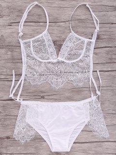White Lace Splice Cami Lingerie - Blanc Xl