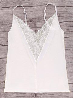 Splice Cami Camisetas Sin Mangas De Encaje - Blanco Xl