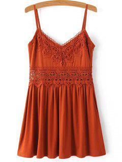 Lace Spliced Cami Mini Dress - Jacinth S