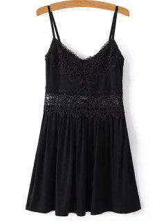 Lace Spliced Cami Mini Dress - Black S