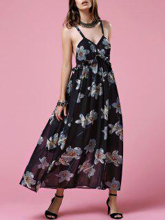 Crisscross Strap Flowing Dress - Black S