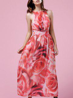 Floral Print Halter Maxi Dress - S
