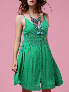 Lace Splice Cami Green A Line Dress - Green S