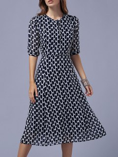 Polka Dot Round Neck Half Sleeve Swing Dress - Purplish Blue S