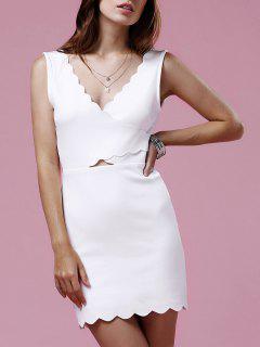 Festoneado Blanca Mini Vestido - Blanco S