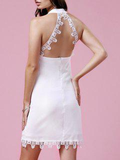 Lace Trim Halter Dress - White S