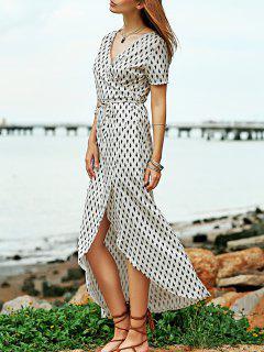 High Slit V-Neck Crossed Print Maxi Dress - Apricot S